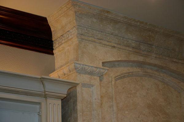 Faux limestone, custom cabinet finish.