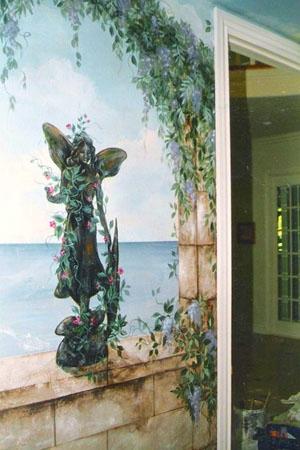 Detail, powder room mural.
