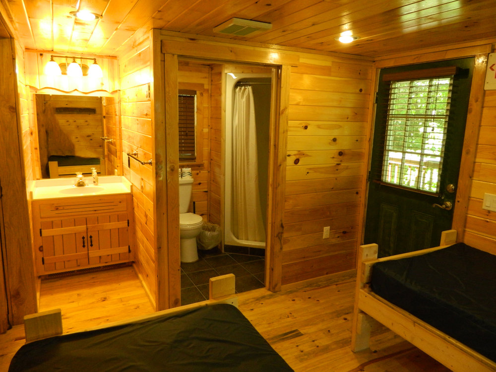 Bathroom and Beds of Hemlock Cabin with Front Kitchen