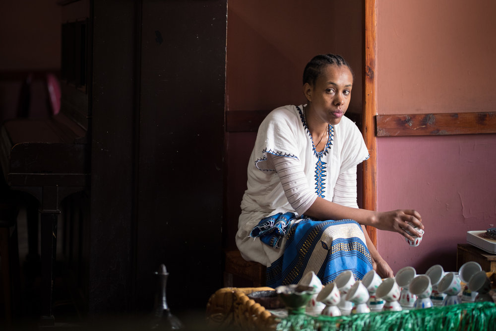 Local Ethiopian woman at a popular tea and coffee shop.