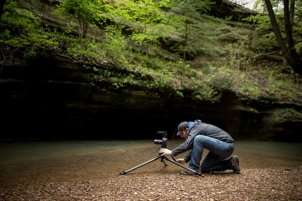 Steve setting up the Canon xD1-mark ii on location