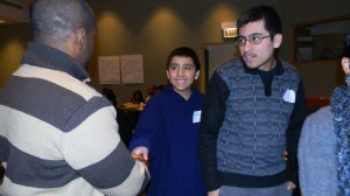 Students meeting C.Schell (left) at the 2013 Winter Exploration