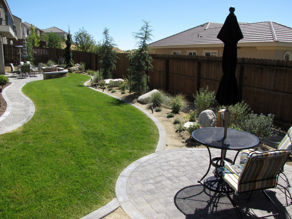 A long, narrow yard with contour to help add interest.