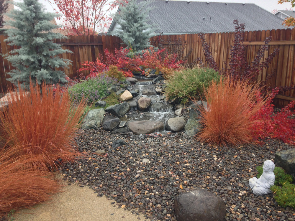 A pondless water feature in the fall.