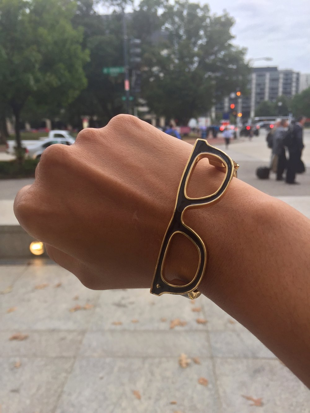 Dra. Swamy with her bespectacled bangle in D.C.