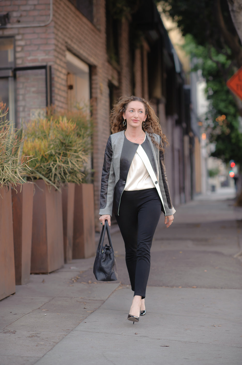 Love this leather blazer/jacket by Stella & Jamie and how it creates a sweet, feminine silhouette