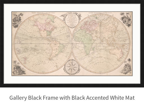 World map 1791 vitali map co world black frame white mat black accentg gumiabroncs Choice Image