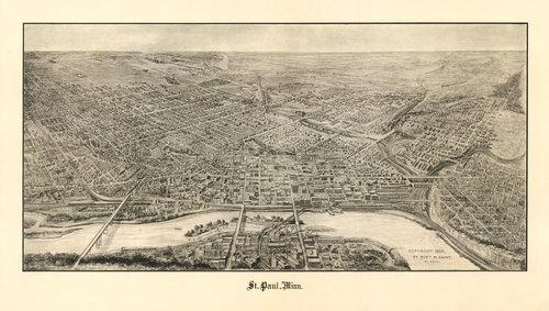 saint paul minnesota birds eye view map 1906 vitali map co