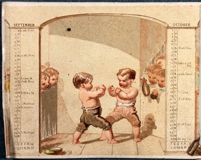 Infant bare knuckle boxing? This is an illustration from a promotional calendar from 1867. #oldillustrations  #bareknuckleboxing