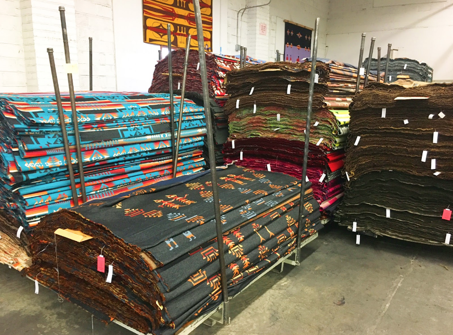Blankets awaiting inspection at the Pendleton Woolen Mill.