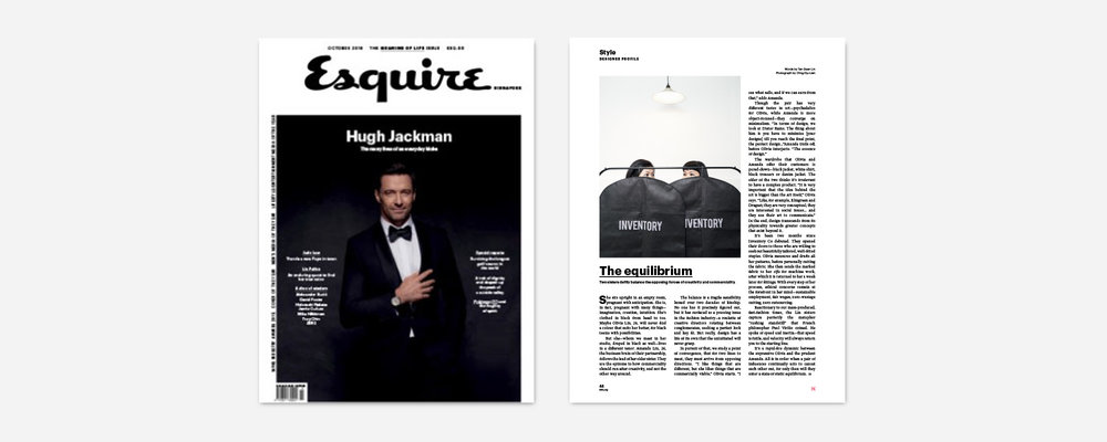 "PRESS FEATURE: ESQUIRE SINGAPORE, OCTOBER 2016 ""Reactionary to our mass-produced, fast-fashion times, the Lin sisters capture perfectly the metaphor ""rushing standstill"" that French philosopher Paul Virilio coined. He spoke of speed and inertia—that speed is futile, and velocity will always return you to the starting line. They are the epitome to how commerciality should run after creativity, and not the other way around."" – Tan Guan Lin, Fashion Writer; Image by Dju-Lian Chng"
