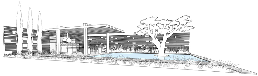 Perspective view of the proposed garden.