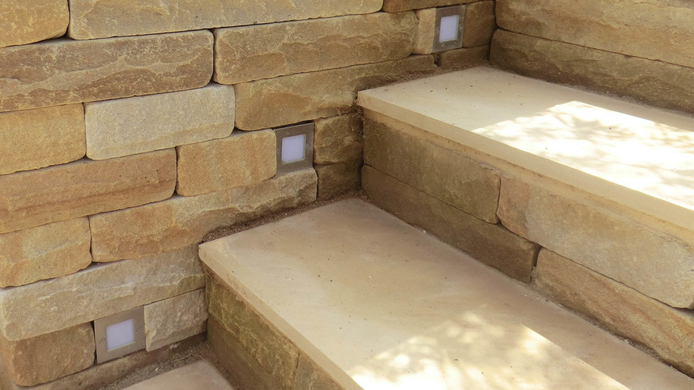 Cheshire Garden Design: Contemporary Sawn Stone Steps With Step Lighting