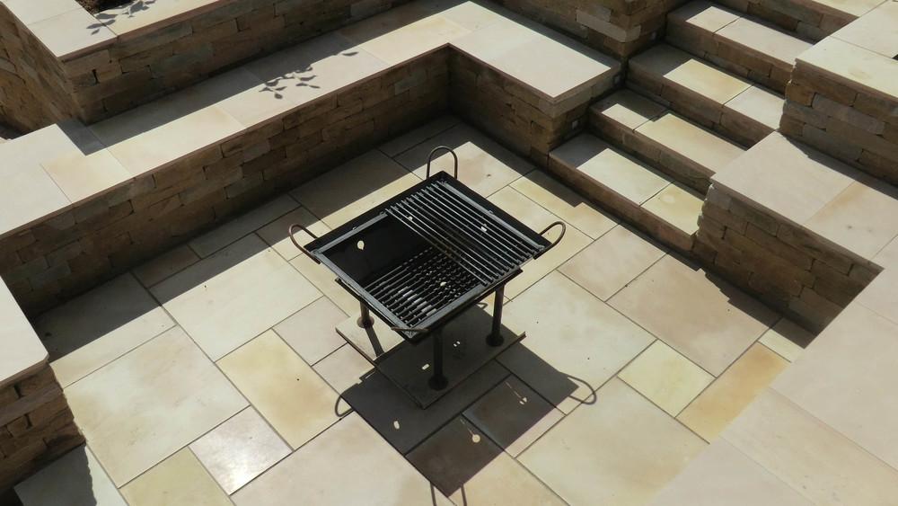 Cheshire Garden Design: Contemporary Sawn Stone Garden with Fire Pit