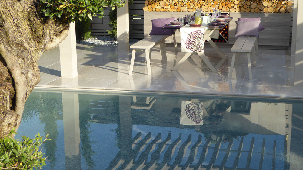 Southport Garden Design: A View Of The Olive Tree: Pool And Seating Area