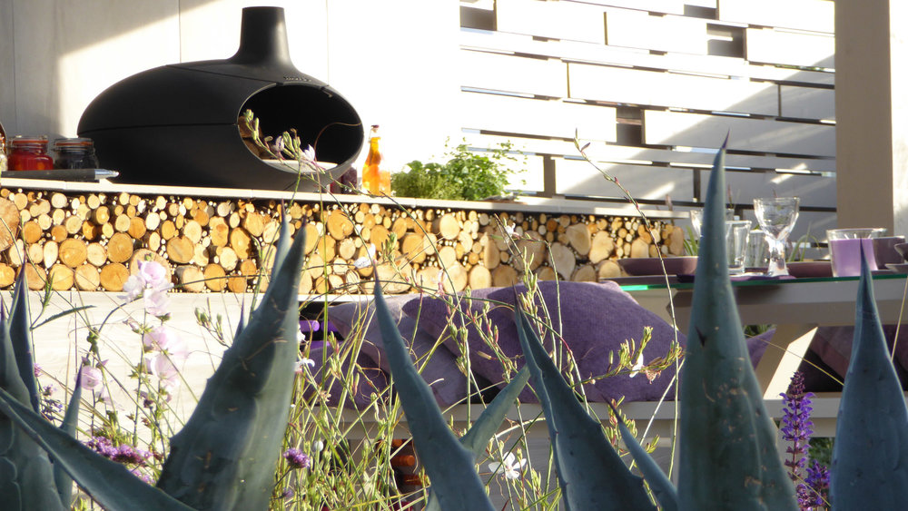 Southport Garden Design: A View Of The Olive Tree: Morsø Oven In Outdoor Kitchen Area