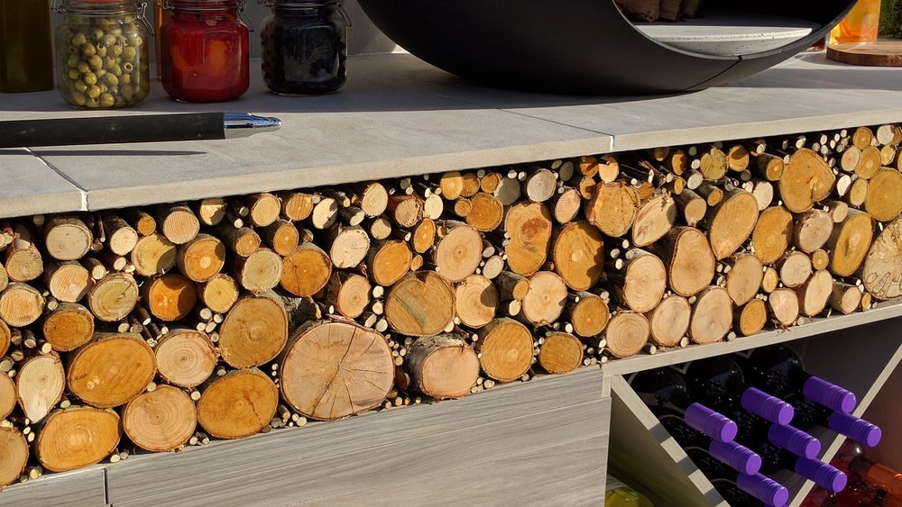 Southport Garden Design: A View Of The Olive Tree: Log Store And Wine Rack