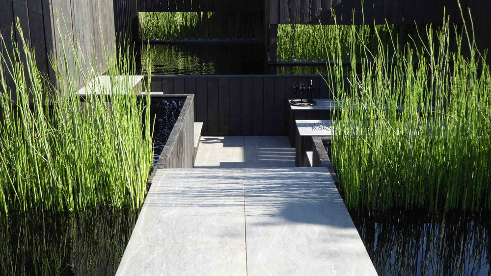 Southport Garden Design: Kuro: Porcelain Path And Sunken Seating Area