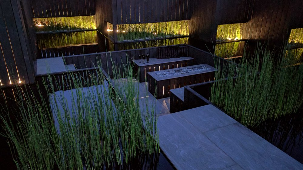 Southport Garden Design: Kuro:  Seating Area And Planting At Night