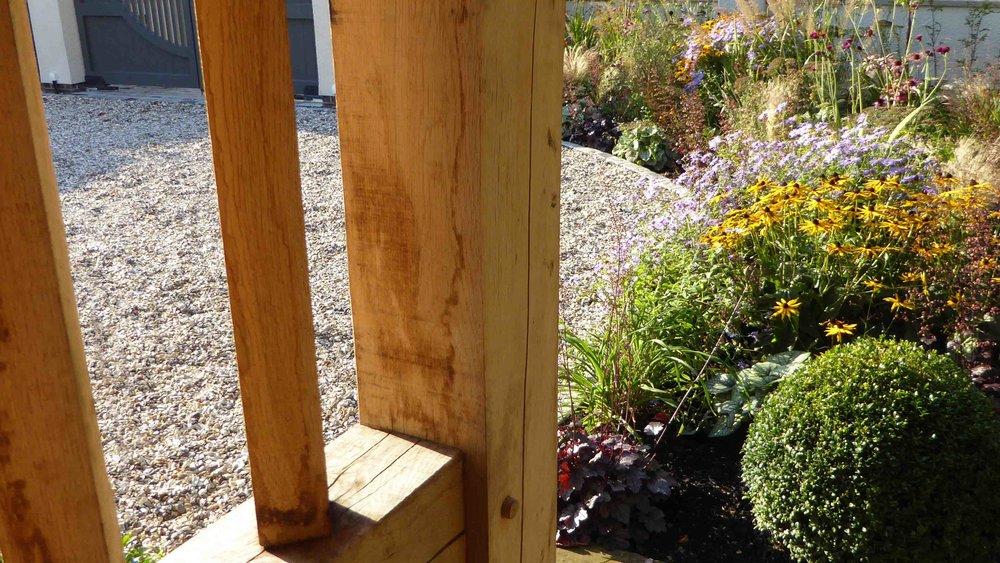 Cheshire Garden Design: The Sun and Shade Garden: Full Sun Border looking through Oak Porch
