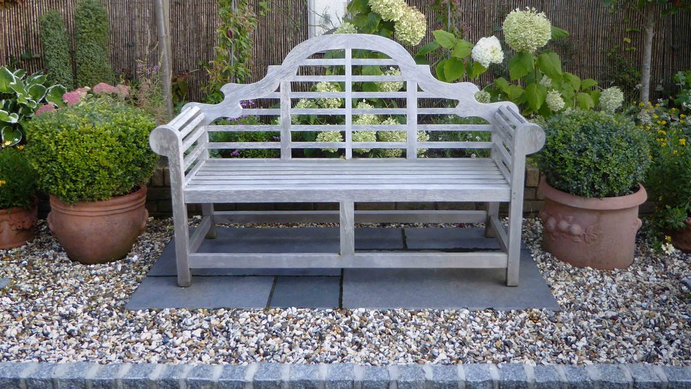 Cheshire Garden Design: The Sun And Shade Garden: Bench, Box Balls In Pots And Hydrangeas