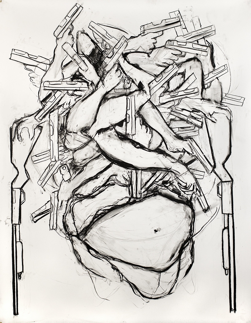 Homesick, 2015, Charcoal on paper, 78 x 53 in.