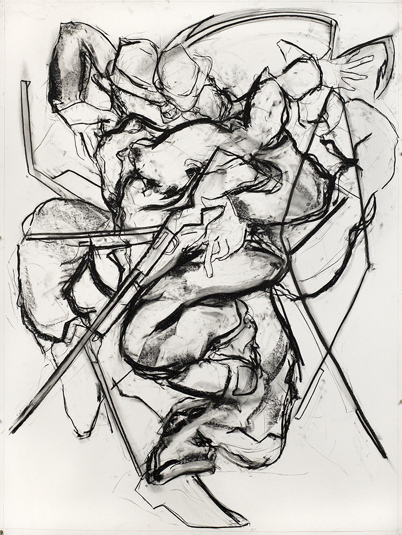 Blue and Broken Leg, 2015, Charcoal on paper, 60 x 53 in.