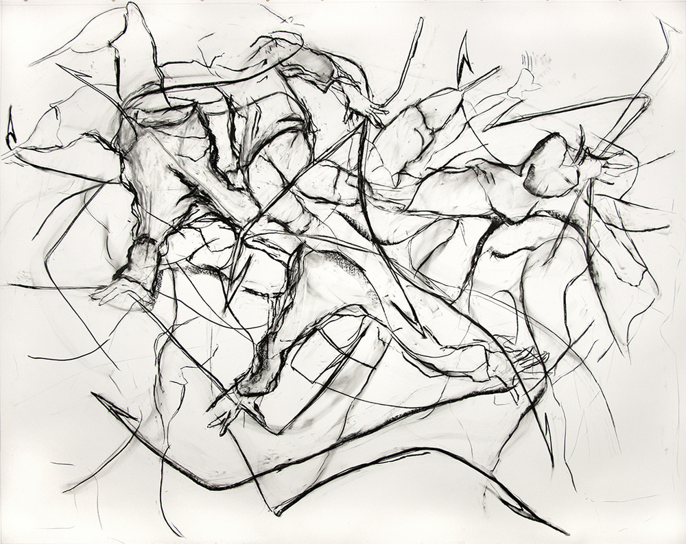 Harpooneers, 2015, Charcoal on paper, 96 x 120 in.