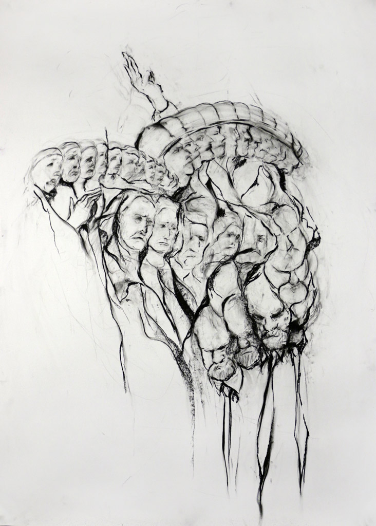 The Mother, the Evangelist, and Their Son, 2015, Charcoal on paper, 84 x 53 in.