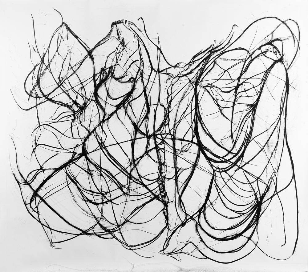 Respiration, 2016, Charcoal on paper, 96 x 120 in.
