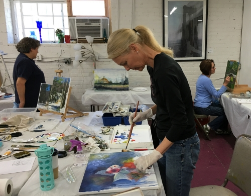 Marvelous Mondays students working in watercolor, oil and acrylic.
