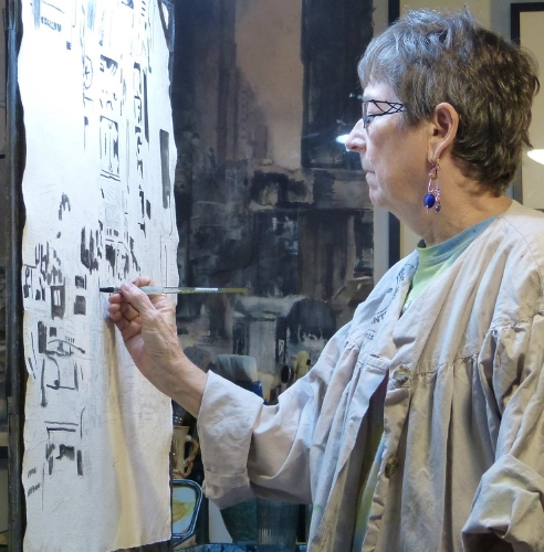 Nadine Charlsen in her studio, NYC,  2014
