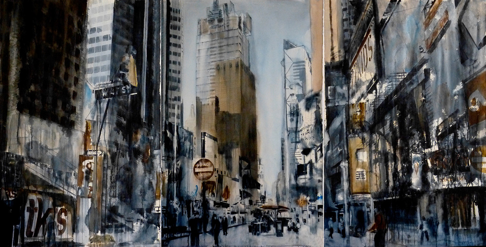 TIMES SQUARE TRIPTYCH, 40 x 76, Arches 140 rough paper. From the National New York City Series