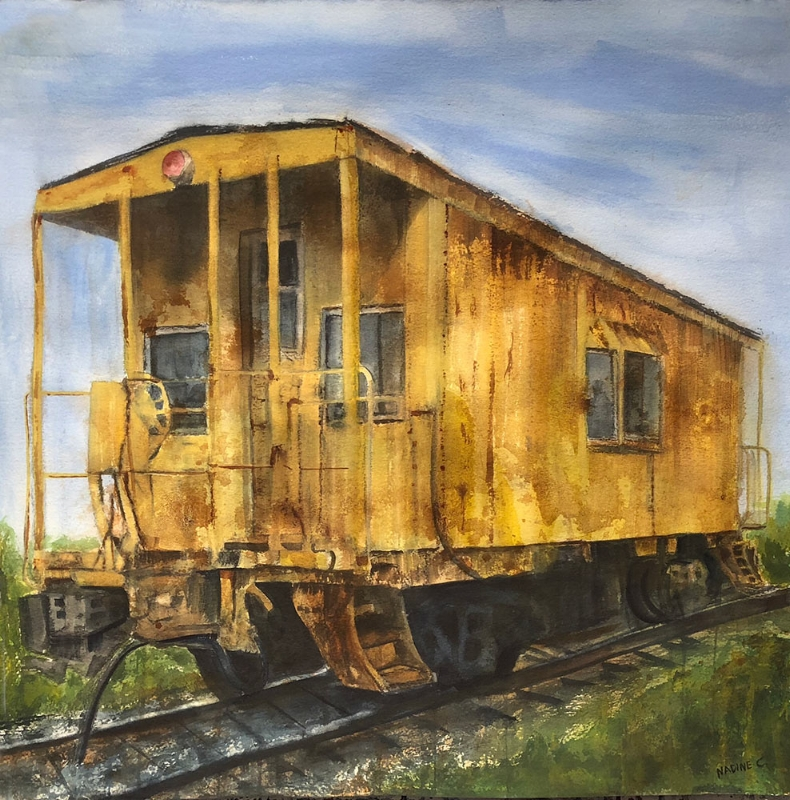 THE YELLOW CABOOSE AND THE BRIGHT BLUE SKY