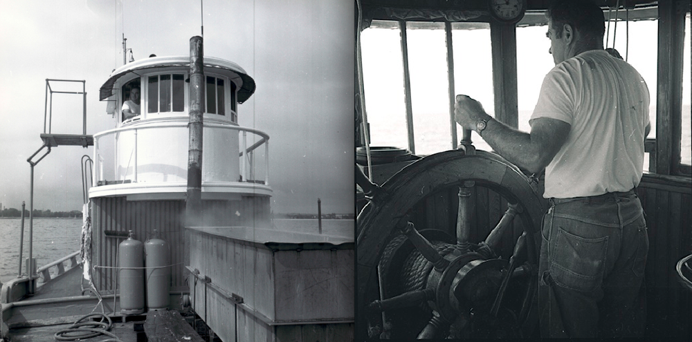 "In these photos taken in the early 1970s, Captain Fred Beloin is at the helm of Laurel, working starfish ""mops"" over the local oyster beds. The original ship's wheel still exists having taken on a new life as a coffee table."