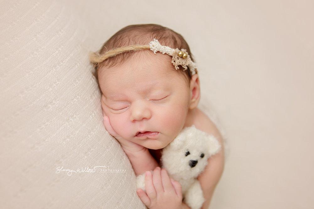 Newborn photography croydon south melbourne cream pink fluffy teddy baby girl sleepy willow jpg