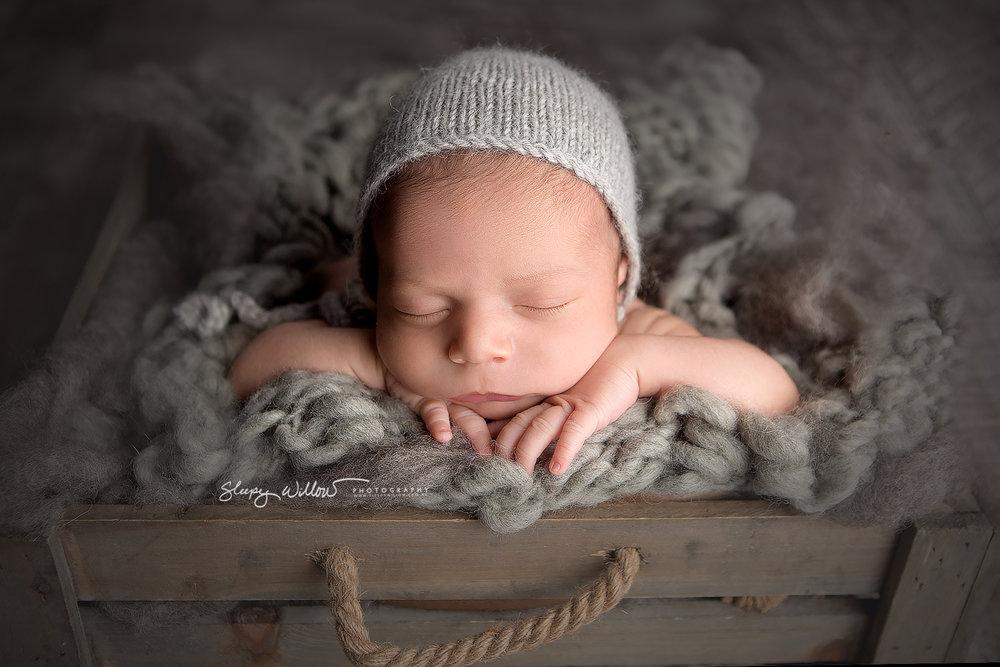 Sleepy willow newborn photography baby grey crate bonnet boy love melbourne mobile croydon jpg