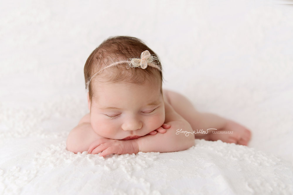 Sleepy willow newborn photography baby white lace pink bow girl love melbourne mobile croydon jpg