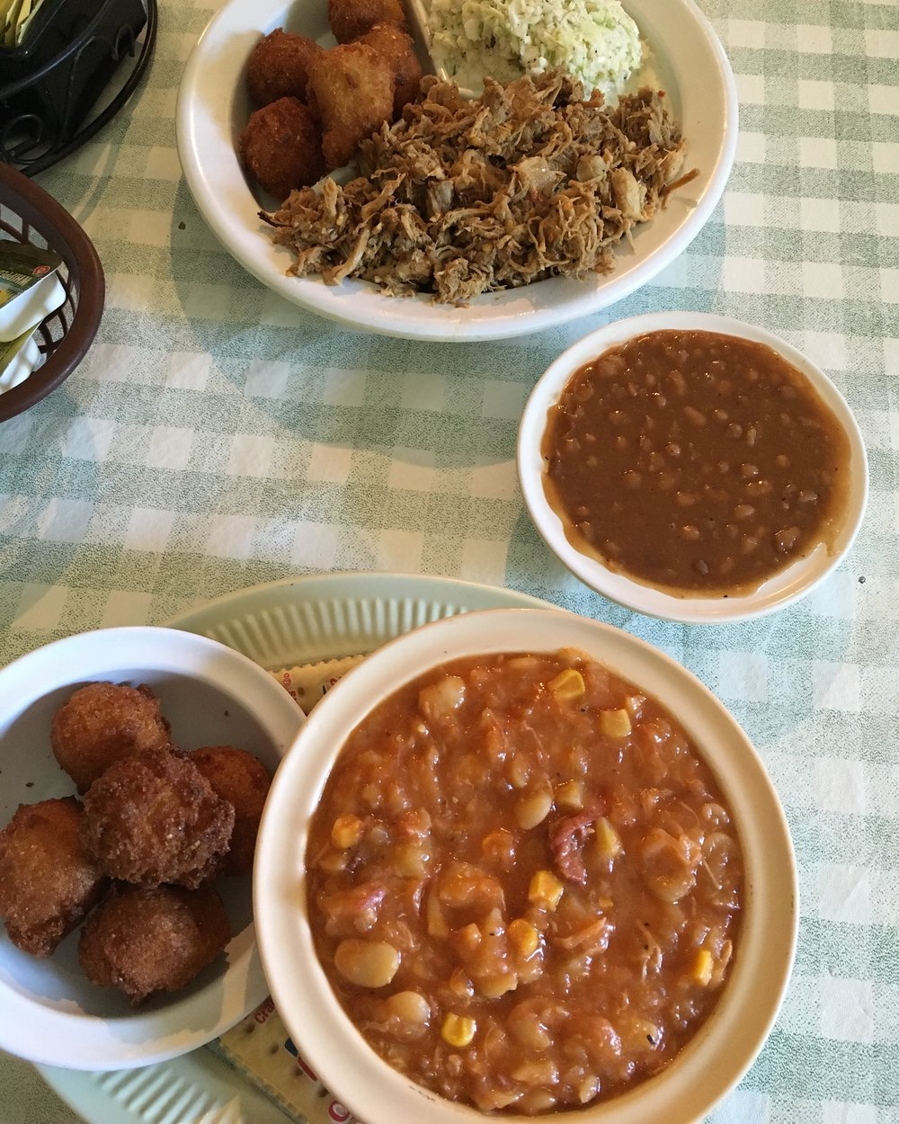 hush puppies, brunswick stew, pulled pork, baked beans...