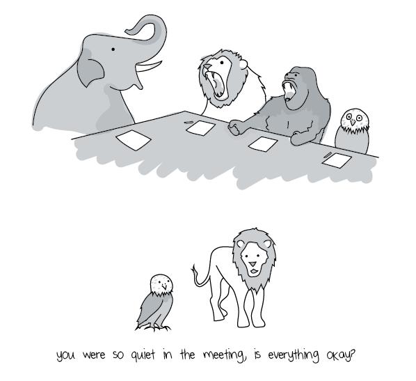 Being quiet in meetings