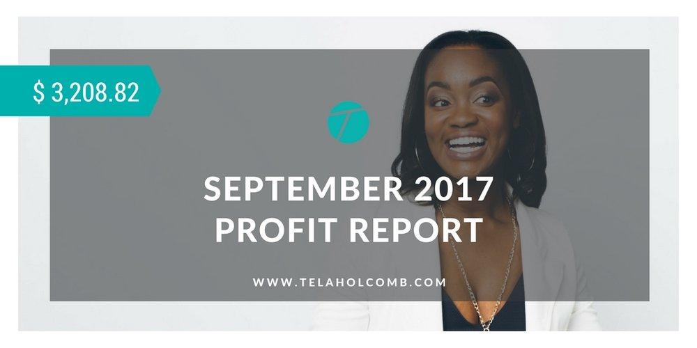 September 2017 Profit Report for Tela Holcomb trend trading swing trading