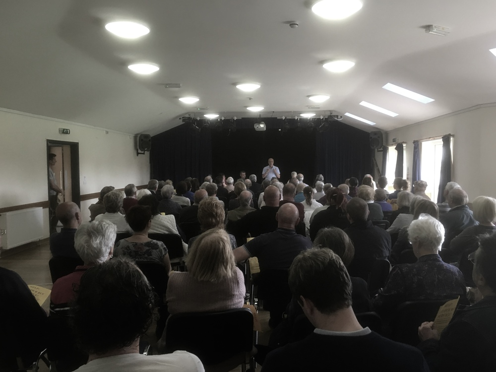 "A lot of people attended the meeting regarding the loss of the TrentBarton  ""Nines"" bus service through Little Eaton and Coxbench. iPhone - 16th May 2016"