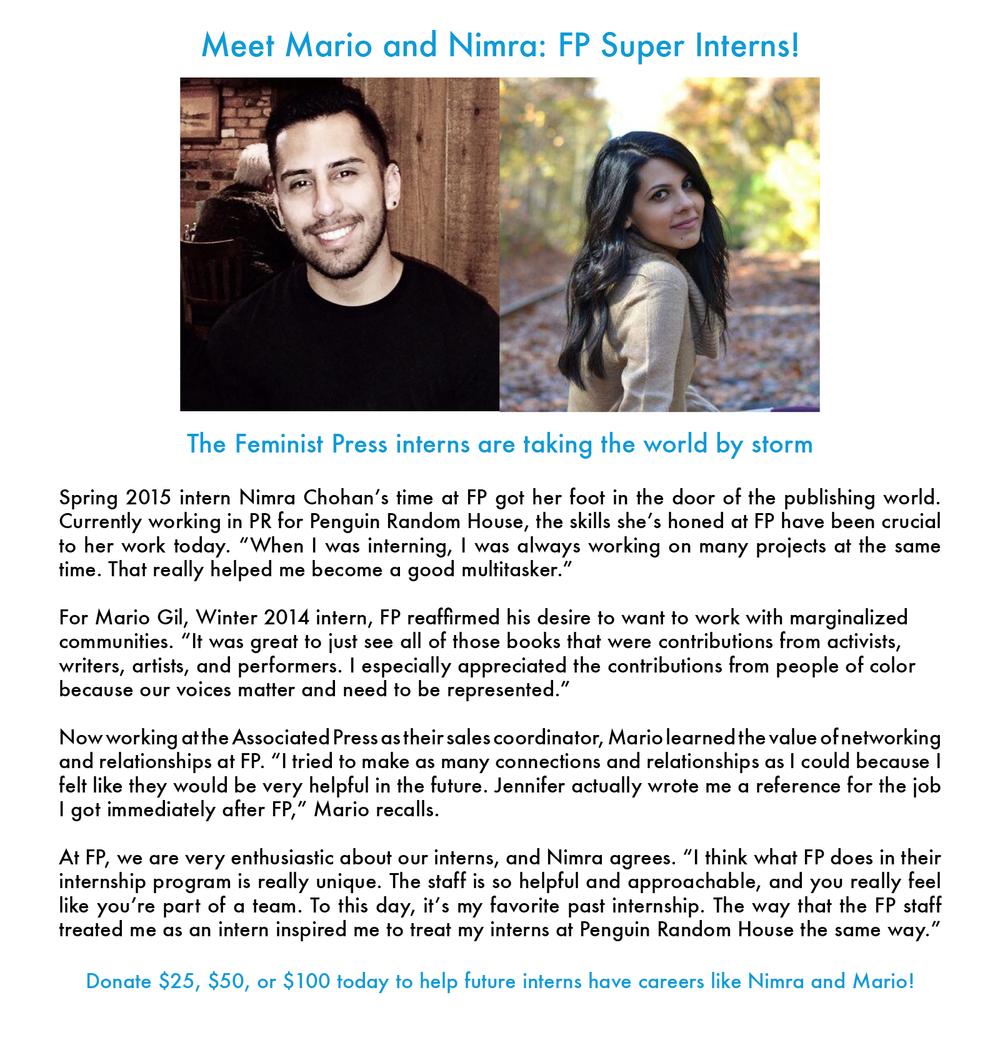 Meet FP Super Interns Mario and Nimra — Feminist Press