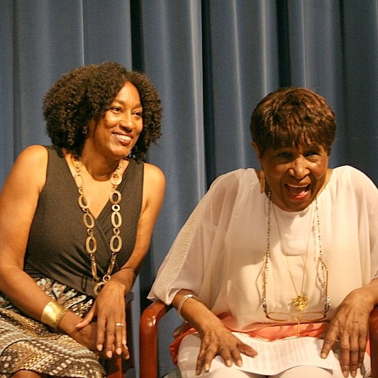 Bridgett M. Davis (L) with Louise Meriwether (R) at the Harlem Book Fair.