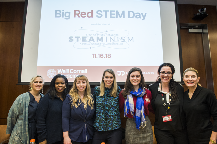 Feminist STEAM experts share their stories with NYC students grades 8-12 at our STEAMinism/Big Red STEM Day panel. Photo credit Studio Brooke.