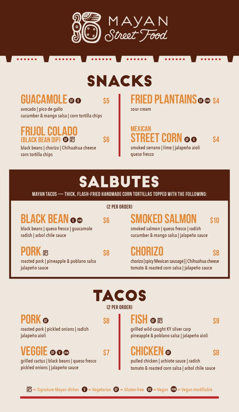 Mayan Street Food Menu