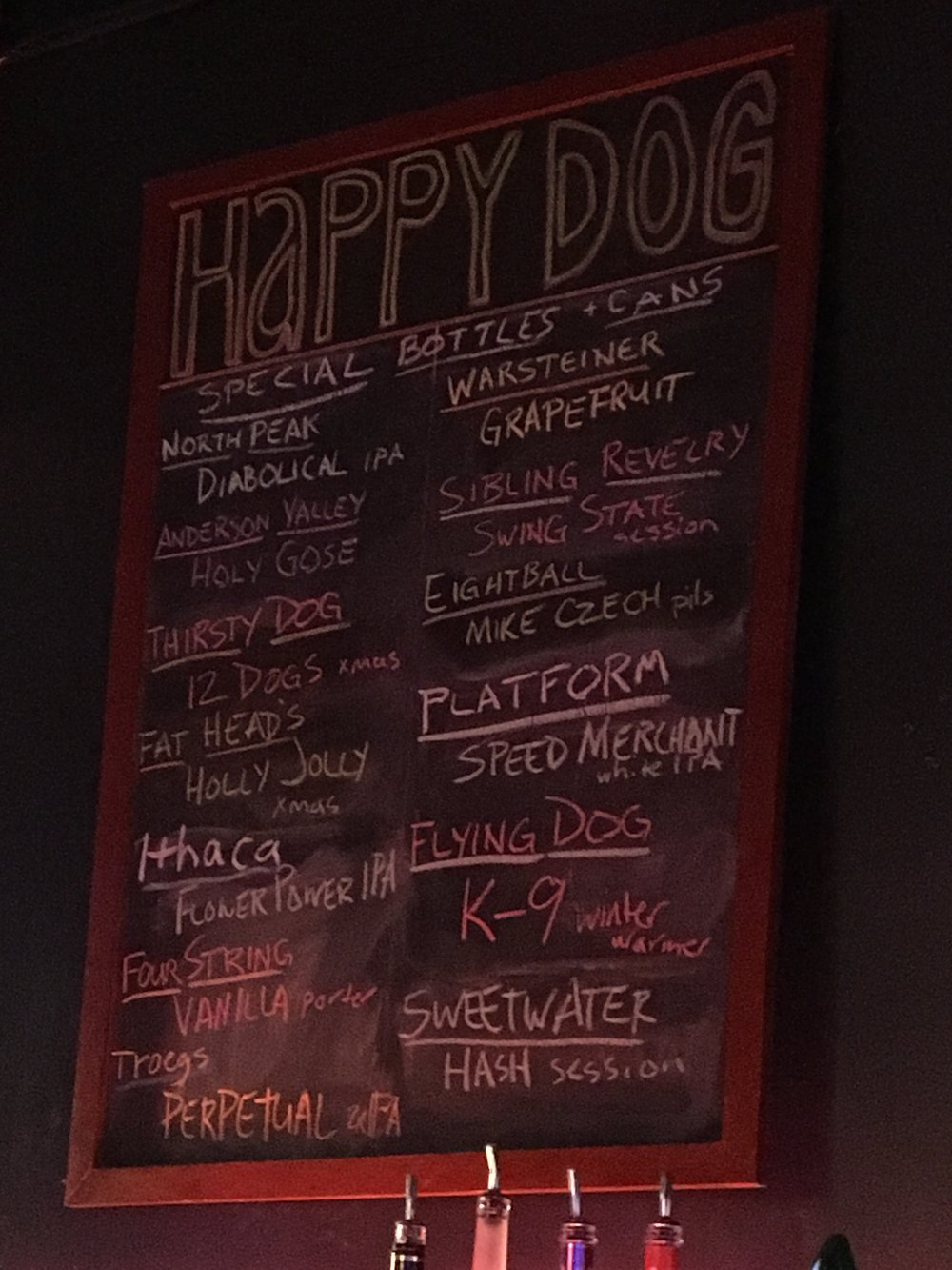 These are just a few of the beers available at Happy Dog