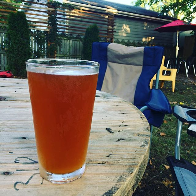 """Backyard beer @forestcitybrewcle // Their """"patio"""" (backyard) is awesome."""