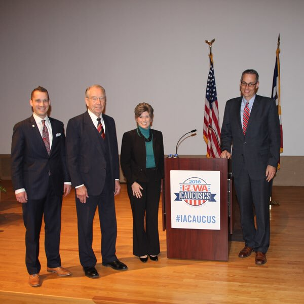 Had the honor of moderating a discussion between Sen. Chuck Grassley and Sen. Joni Ernst at caucus time in 2016.