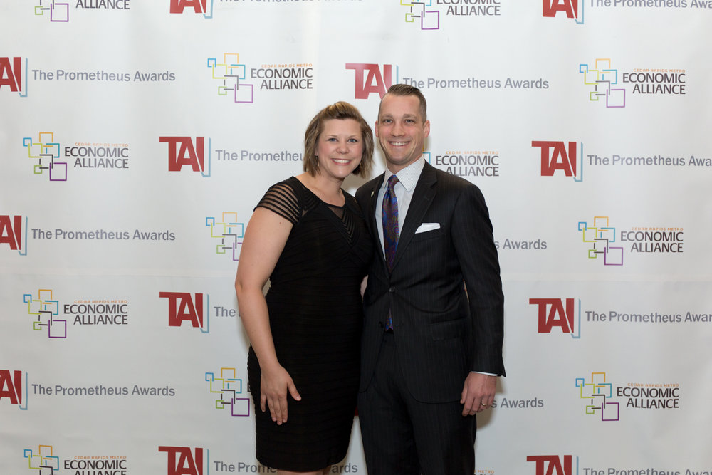 With wife Emily at Technology Association of Iowa Prometheus Awards